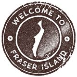 Fraser Island map vintage stamp. Retro style handmade label, badge or element for travel souvenirs. Brown rubber stamp with island map silhouette. Vector royalty free illustration
