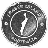 Fraser Island map vintage stamp. Retro style handmade label, badge or element for travel souvenirs. Dark grey rubber stamp with island map silhouette. Vector Royalty Free Stock Photos