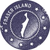 Fraser Island map vintage stamp. Retro style handmade label, badge or element for travel souvenirs. Deep purple rubber stamp with island map silhouette. Vector vector illustration