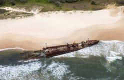 Fraser Island-Schiffswrack, Vogelperspektive Stockbilder