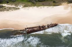 Fraser Island ship wreck, aerial view. Stock Images