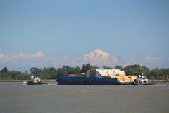 Fraser River Barge, Mount Baker Afternoon Royalty Free Stock Photography