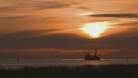 Fraser River Dredger, Sundown stock footage