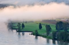 Fraser river at foggy sunrise Stock Photography