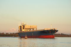 Fraser River Freighter and Fish Boats Royalty Free Stock Photography