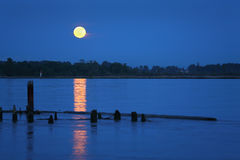 Fraser River Moonrise Stock Photography