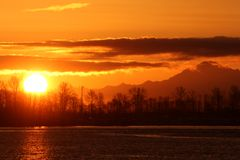 Fraser River, Mount Baker Sunrise Royalty Free Stock Photo