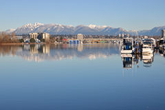 Fraser River and Northshore Mountains Royalty Free Stock Photography