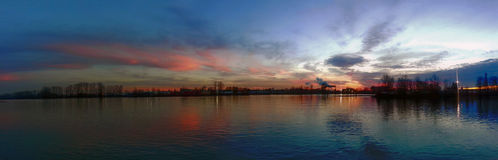 Fraser river. Panorama of the fraser river at twilight Royalty Free Stock Photo