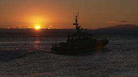 Fraser River Pilot Boat Sunset 4K stock video footage