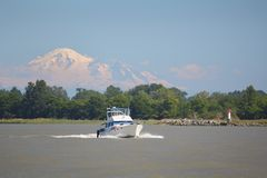 Fraser River Pleasure Yacht, Mount Baker Stock Photo