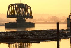 Fraser River Rail Trestle Dawn Stock Images