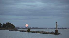 Fraser River, Steveston-Moonrise 4K, UHD stock footage