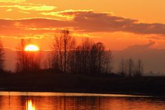 Fraser River Sunrise Stock Photo
