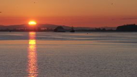 Fraser River Sunrise 4K UHD slow motion. A tugboat towing a barge on the Fraser River near Steveston at sunrise. Vancouver, British Columbia, Canada. 4K. UHD stock video footage