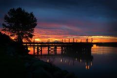Fraser River Sunrise Twilight royalty-vrije stock foto