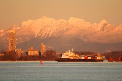 Fraser River Truck Barge at Dusk Stock Photos