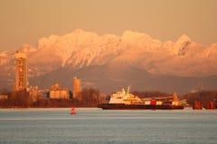 Fraser River Truck Barge at Dusk Stock Photos