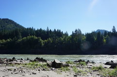 Fraser River in Yale, BC. Low tide at the Fraser river in Yale, BC Stock Photography