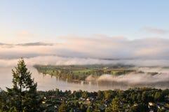 Fraser Valley at foggy sunrise Stock Photo