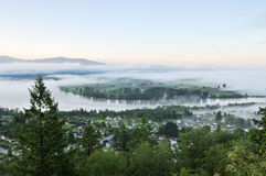 Fraser Valley at foggy sunrise Stock Images
