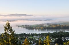 Fraser Valley at foggy sunrise Royalty Free Stock Photo