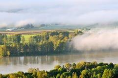 Fraser Valley at foggy sunrise Stock Photos