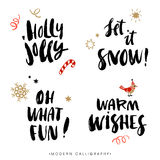 Frases da caligrafia do Natal Elementos desenhados mão do projeto Foto de Stock Royalty Free