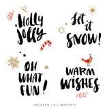Frases de la caligrafía de la Navidad Elementos drenados mano del diseño Foto de archivo libre de regalías