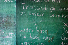Frases de la gramática en fondo de la pizarra Foto de archivo libre de regalías