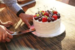 Frash homemade cake with fresh berries and fruits royalty free stock photography