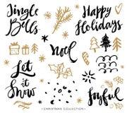 Frasi di calligrafia di Natale Elementi disegnati a mano di disegno illustrazione di stock