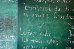 Frasi di grammatica sul fondo della lavagna Fotografia Stock Libera da Diritti