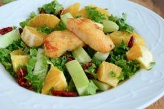 Frasig grön sallad med pecannötter och söt limefrukt royaltyfri foto