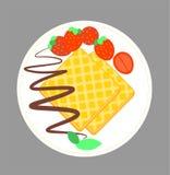 Frasiga dillandear med choklad och jordgubben på tefatet Illustration av den ljusbruna skivan för rån som isoleras på lagret Vekt vektor illustrationer