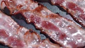 Frasiga stycken av smaklig bacon stekas på den varma pannan, varmt kokande fett som lagar mat kött, mål med kött, bacon för lager videofilmer