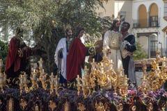 Fratellanza del bacio di Giuda, settimana santa in Siviglia, la Spagna immagini stock libere da diritti