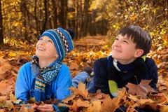 Fratelli che giocano in autunno   Fotografie Stock Libere da Diritti