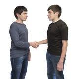 Fratelli di gemelli che stringono le mani Immagini Stock