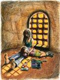 Fratello e sorella addormentati dopo gioco con vernice Royalty Illustrazione gratis