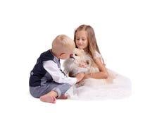 Fratello e sorella divertendosi con un cucciolo isolato su un fondo bianco Bambini che giocano con un cane Concetto domestico del Fotografia Stock