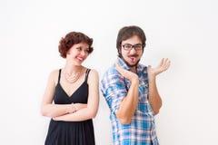 Fratello e sorella sorridenti Fotografie Stock Libere da Diritti