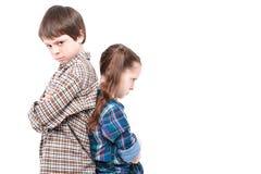 Fratello e sorelle che comprendono male Fotografia Stock