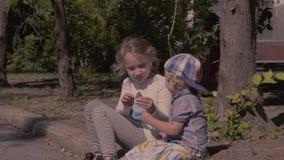 Fratello piccolo e sorella che si siedono sulla via in parco stock footage