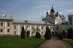 The fraternal Corps and Kazan Church. St. Nicholas Ugreshsky monastery. Royalty Free Stock Photos