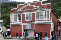 Fraternal Order of Eagles. SKAGWAY, ALASKA - June 1, 2016: Skagway is a borough in Alaska with a full time population of about 1,000 people. During the summer stock photo