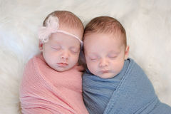 Fraternal Twin Baby Brother and Sister. Two month old, fraternal twin, brother and sister babies swaddled in pink and blue wraps and sleeping on a sheepskin rug royalty free stock photos