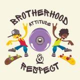 Fraternidad, actitud y respecto stock de ilustración