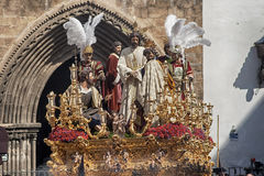 Fraternidades de la penitencia de la semana santa en Sevilla, Carmen Painful Imagenes de archivo