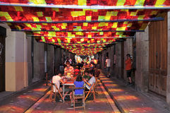 Fraternitat Street garnished in Festes de Gracia Stock Image
